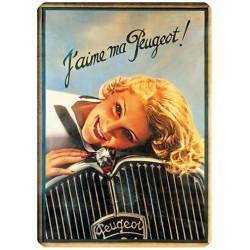 Plaque métal 15x21 - J'aime ma Peugeot