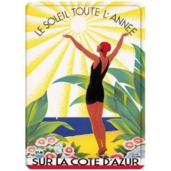 Plaque métal - Côte d'Azur - Soleil toute l'année