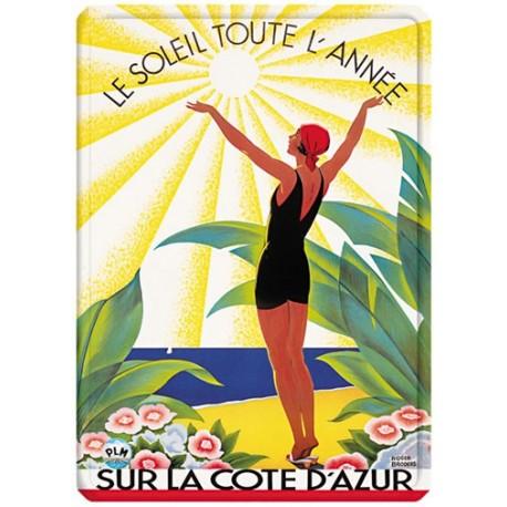 Plaque métal - Côte d'Azur - Soleil toute l'année - PLM