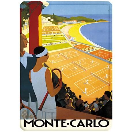 Plaque métal - Monte-Carlo - Courts de tennis - PLM