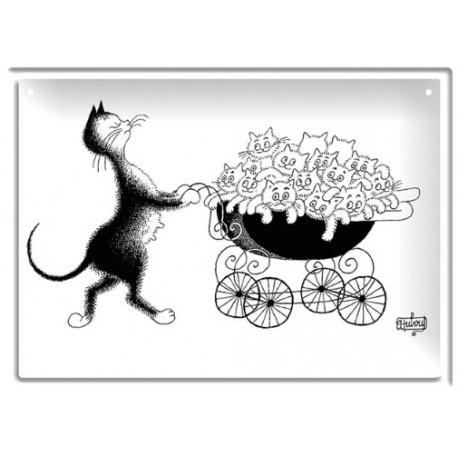 Plaque métal - Famille nombreuse - Chats Dubout