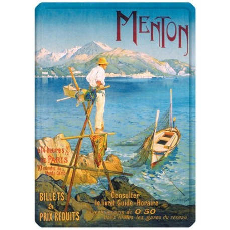 Plaque métal - Menton - Le pêcheur - PLM