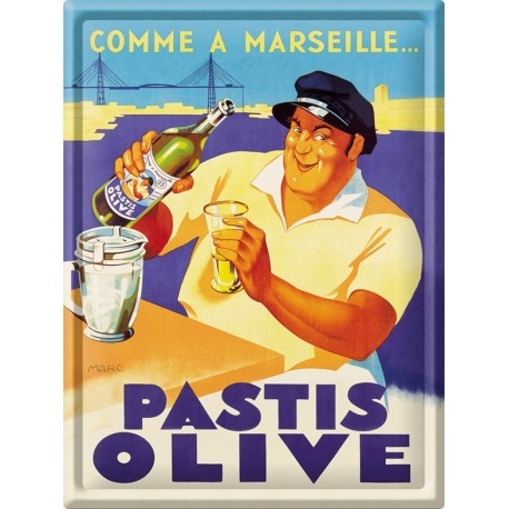 Plaque métal - Pastis Marseille - Pastis Olive