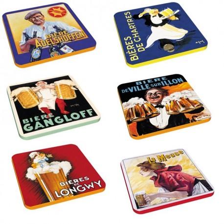 6 dessous de verres - Bières - Publicités
