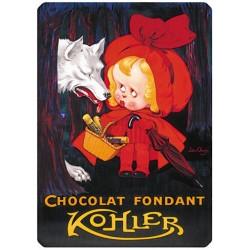 Plaque métal 15x21 - Chaperon rouge Chocolat