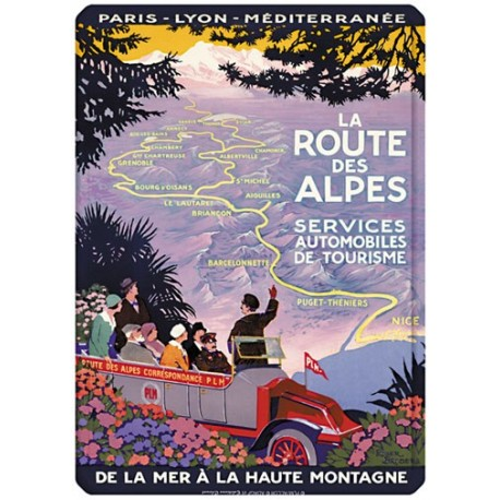 Plaque métal 15x21 - La route des Alpes
