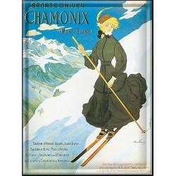 Plaque métal 30x40 - Chamonix La skieuse