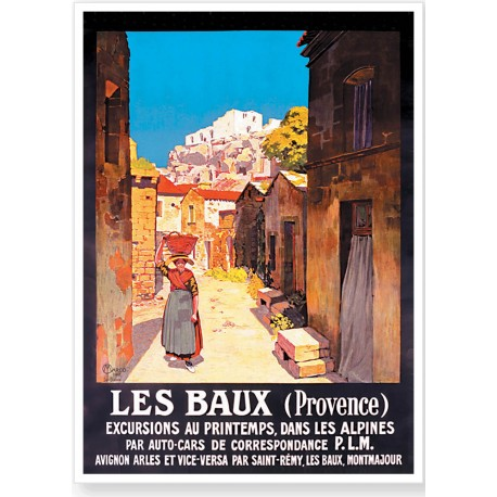 Affiche - Les Baux de Provence - La rue (fin de série) - PLM