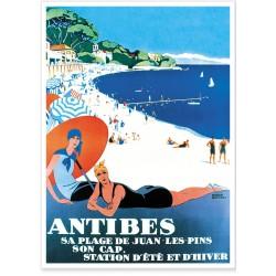 Affiche - La plage de Juan-les-Pins