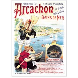 Affiche - Arcachon - Bains de mer - Compagnie PO-Midi