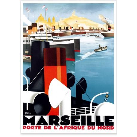 Affiche - Marseille Porte de l'Afrique du Nord - PLM