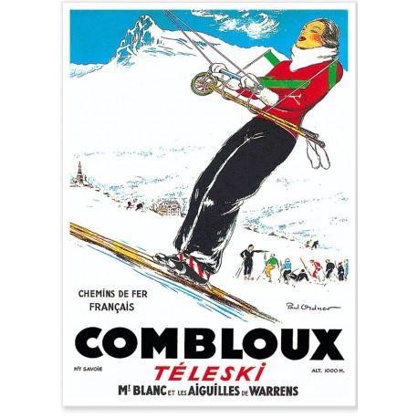 Affiche - Combloux - La skieuse brune - PLM