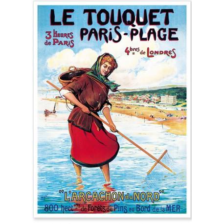 Affiche - Le Touquet - La pêche à pied - Ville du Touquet