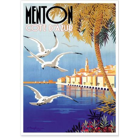 Affiche - Vue sur la ville de Menton - PLM