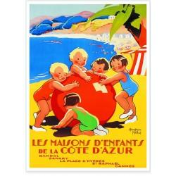 Affiche - Côte d'Azur Les maisons d'enfants
