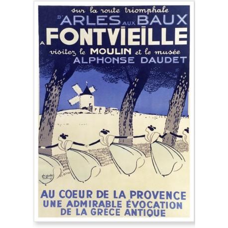 Affiche - Fontvieille - Le Moulin d'Alphonse Daudet - PLM