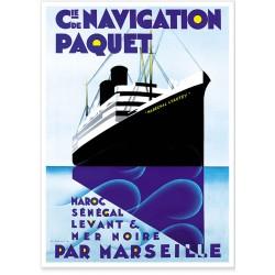 Affiche - Paquebot - Compagnie de navigation Paquet