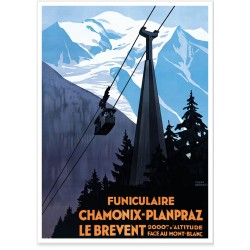 Affiche - Le funiculaire Chamonix Planpraz
