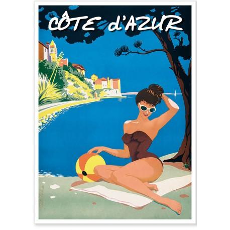 Affiche - Côte d'Azur - Baigneuse