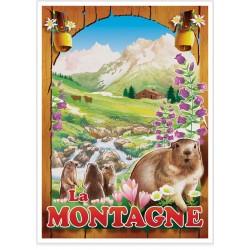 Affiche - Montagne - Marmottes