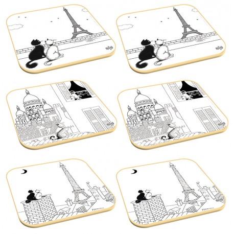6 dessous de verre - Les Chats à Paris