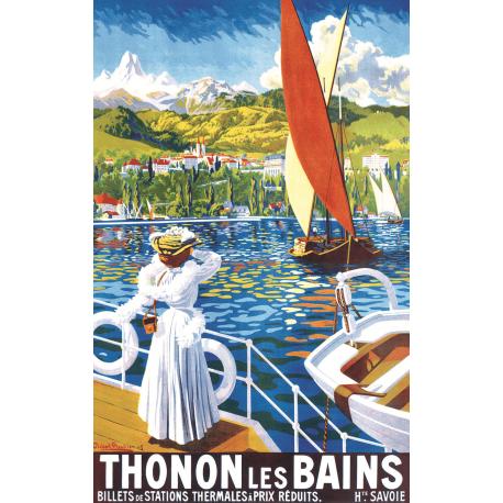 Affiche 50x70 - Sur le lac à Thonon les Bains