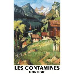 Affiche 50x70 - Village des Contamines Montjoie