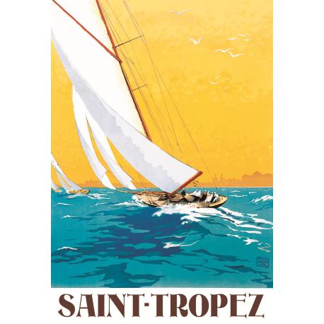 Affiche 50x70 - Voilier à Saint Tropez