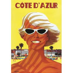 Affiche 50x70 - Portrait sur une plage de Cote d'Azur