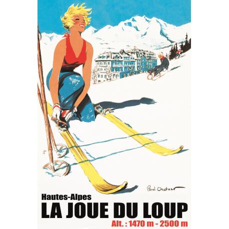 Affiche 50x70 - Skieuse à La Joue du Loup