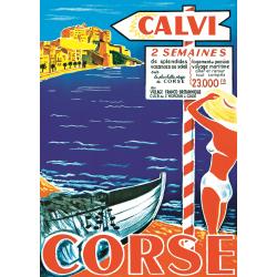 Affiche 50x70 - Vacances à Calvi