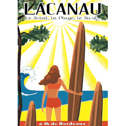 Affiche 50x70 - Surf à Lacanau