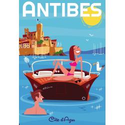 Affiche 50x70 - Baignade à Antibes