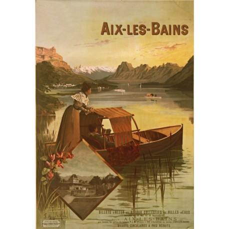 Affiche - Aix-les-Bains - Le Lac du Bourget (fin de série) - PLM