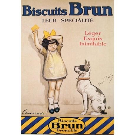 Affiche - Fille et chien (fin de série) - Biscuits Brun