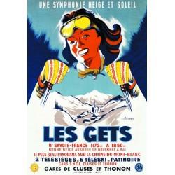 Affiche - Les Gets - Skieuse (fin de série) - SNCF